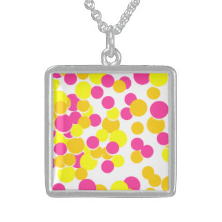 Pink Yellow Cute Circle Silver Square Necklace