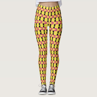 Pink & Yellow Diamonds Art Leggings