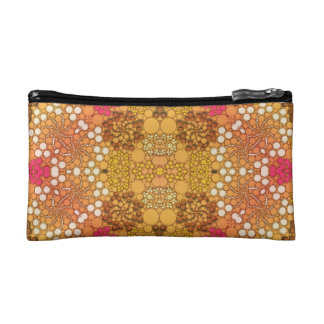 Pink Yellow Fancy Flower Abstract Cosmetic Bags