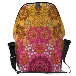 Pink Yellow Fancy Flower Abstract Courier Bag