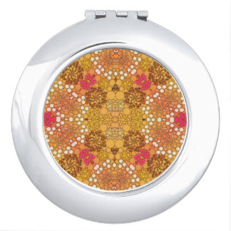 Pink Yellow Fancy Flower Abstract Mirrors For Makeup