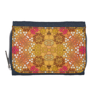 Pink Yellow Fancy Flower Abstract Wallets
