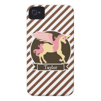 Pink & Yellow Fantasy Unicorn; Brown White Stripes iPhone 4 Cases