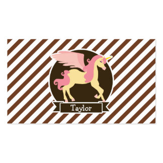 Pink & Yellow Fantasy Unicorn; Brown White Stripes Pack Of Standard Business Cards