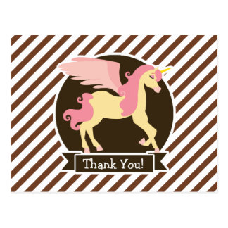 Pink & Yellow Fantasy Unicorn; Brown White Stripes Postcard