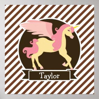Pink & Yellow Fantasy Unicorn; Brown White Stripes Poster