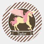 Pink & Yellow Fantasy Unicorn; Brown White Stripes Round Sticker