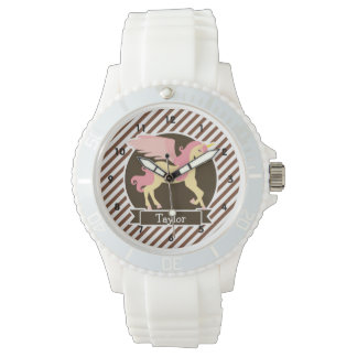 Pink & Yellow Fantasy Unicorn; Brown White Stripes Watch