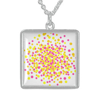 Pink Yellow Firework Silver Square Necklace