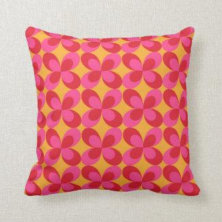 Pink yellow floral geometric cushion