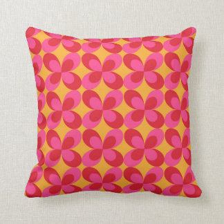 Pink yellow floral geometric throw pillow