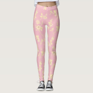 Pink Yellow Floral Girly Cute Sweet Leggings