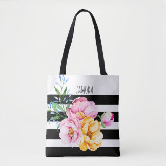 Pink & Yellow Flowers Bouquet Black Stripes Tote Bag