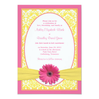 Pink Yellow Gerbera Daisy Wedding Invitation