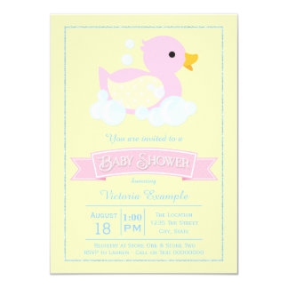 Pink Yellow Girls Pink Rubber Duck Baby Shower 11 Cm X 16 Cm Invitation Card