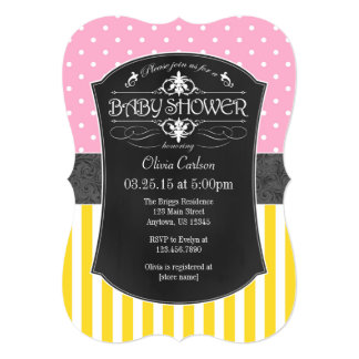Pink Yellow Gray Chalkboard Stripes Baby Shower 13 Cm X 18 Cm Invitation Card