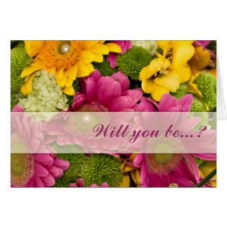 Pink yellow & green Gerbera be my bridesmaid card