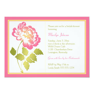 Pink, Yellow, Green, White Peony Bridal Shower 13 Cm X 18 Cm Invitation Card