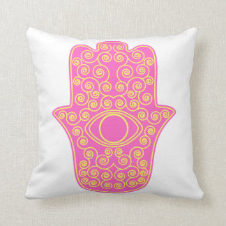 Pink Yellow Hamsa-Hand of Miriam-Hand of Fatima.pn Cushion