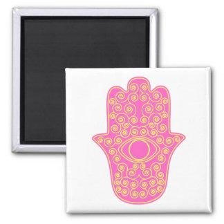 Pink Yellow Hamsa-Hand of Miriam-Hand of Fatima.pn Square Magnet
