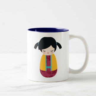 PINK YELLOW Kokeshi Doll Cute Japanese Geisha Girl Two-Tone Coffee Mug