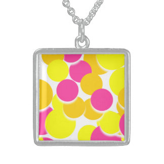Pink Yellow Lovely Circle Silver Square Necklace