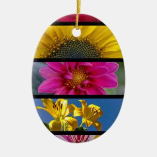 Pink & Yellow Macro Flowers Ceramic Oval Decoration