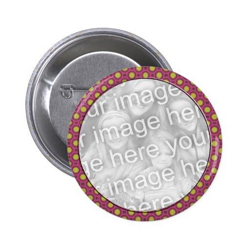 pink yellow mod dots photo frame pin