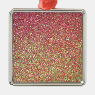 Pink Yellow Ombre Glitter Background Silver-Colored Square Decoration