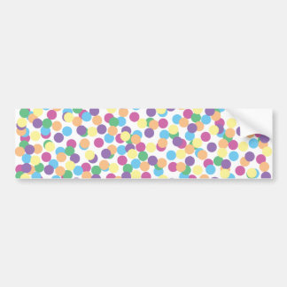 Pink Yellow Orange Green Blue & Purple Polka-Dots Bumper Sticker