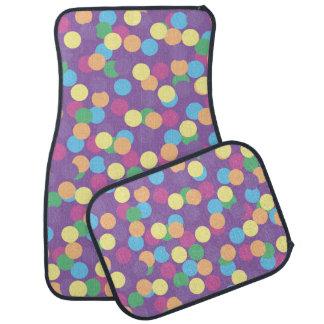 Pink Yellow Orange Green Blue & Purple Polka-Dots Car Mat