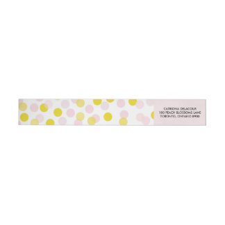 Pink & Yellow Polka Dots Confetti Pattern Wraparound Return Address Label