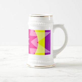 pink yellow purple stars mugs