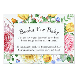 Pink Yellow Roses Baby Shower Book Card