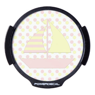 Pink Yellow Sail Boat LED Car Window Decal