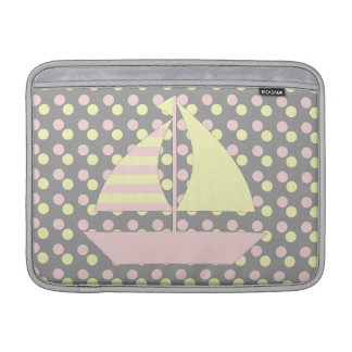 Pink Yellow Sail Boat Sleeve For MacBook Air