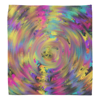 Pink Yellow Spiral Abstract Art Painting Design Bandana
