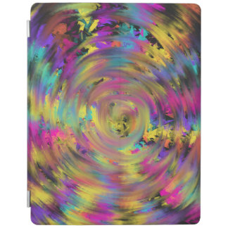 Pink Yellow Spiral Abstract Art Painting Design iPad Cover