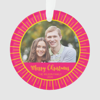 Pink Yellow Starburst Merry Christmas Photo