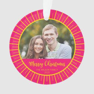 Pink Yellow Starburst Merry Christmas Photo Ornament