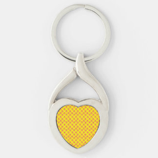 Pink & yellow stars keychains Silver-Colored twisted heart key ring