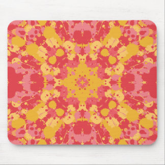 Pink & Yellow Tie Dye Splatter Paint Pattern Mouse Pad