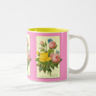 Pink Yellow Vintage Botanical Roses Coffee Cup Mugs