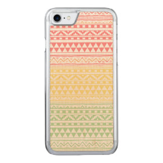 Pink Yellow Watercolor Aztec Tribal Print Pattern Carved iPhone 8/7 Case