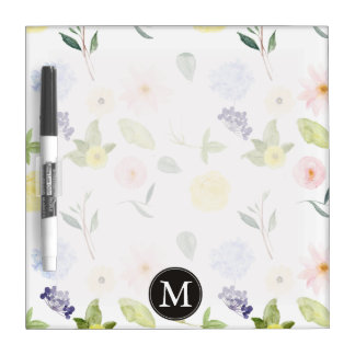 Pink Yellow Watercolor Floral Monogram Dry Erase Board
