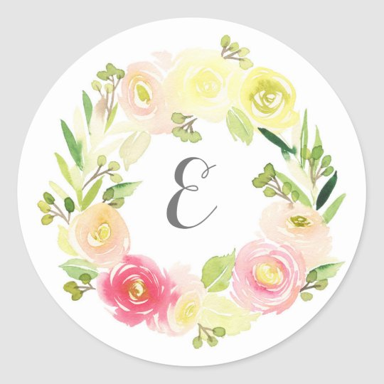 Pink & Yellow Watercolor Floral Wreath | Monogram