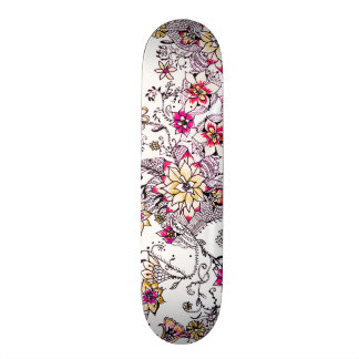 Pink yellow watercolor hand painted floral skate boards