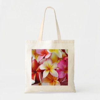 Pink Yellow  White Mixed Plumeria Flower Budget Tote Bag