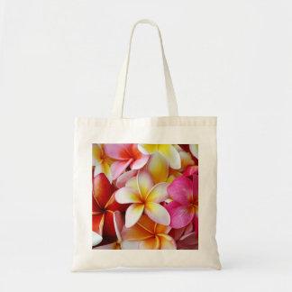 Pink Yellow  White Mixed Plumeria Flower Canvas Bag