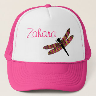 Pink & Yellow Winged Dragonfly Trucker Hat
